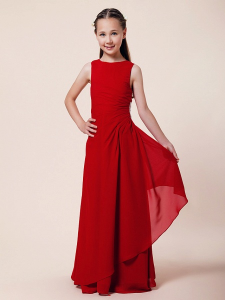 A-Line / Sheath / Column Bateau Neck Floor Length Chiffon Junior Bridesmaid Dress With Beading / Side Draping / Spring / Summer / Fall / Winter / Wedding Party_1