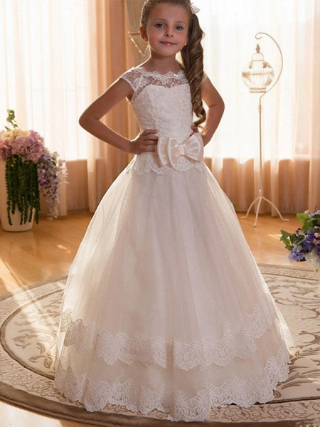 Ball Gown Maxi Wedding / Birthday / Pageant Flower Girl Dresses - Chiffon / Tulle / Cotton Cap Sleeve Jewel Neck With Lace / Sash / Ribbon / Solid_1