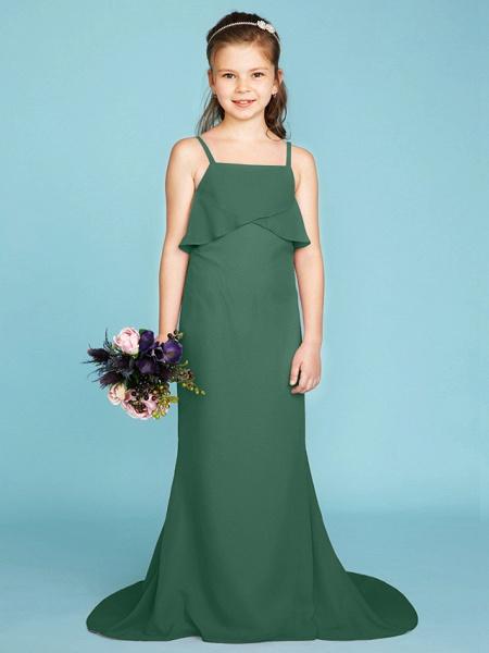 Sheath / Column Spaghetti Strap Sweep / Brush Train Chiffon Junior Bridesmaid Dress With Tiered / Wedding Party / Open Back_46