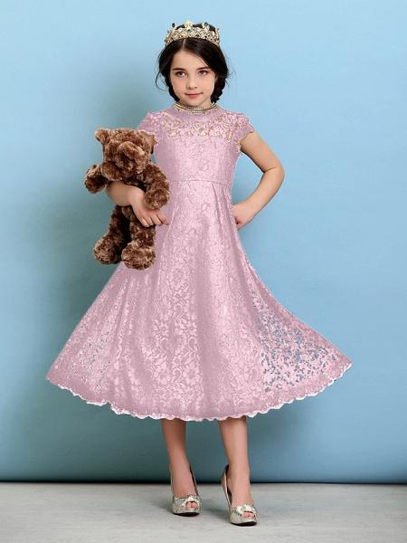Princess / A-Line Jewel Neck Tea Length Lace Junior Bridesmaid Dress With Pleats / Natural_11
