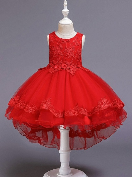 Princess / Ball Gown Knee Length Wedding / Party Flower Girl Dresses - Tulle Sleeveless Jewel Neck With Bow(S) / Appliques_6
