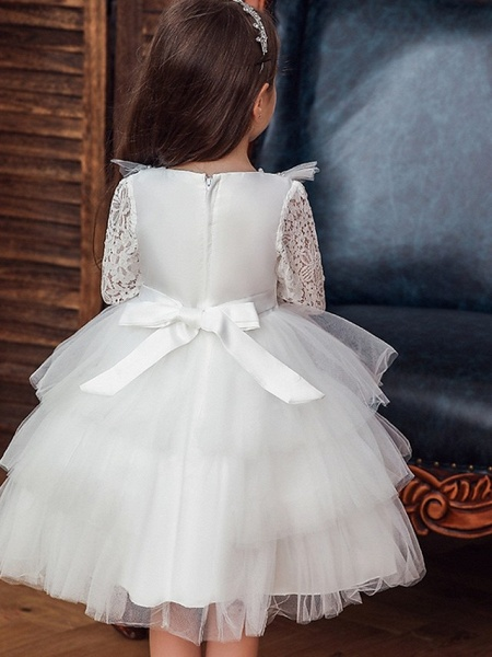 Princess / Ball Gown Knee Length Wedding / Party Flower Girl Dresses - Tulle 3/4 Length Sleeve Jewel Neck With Bow(S) / Beading / Cascading Ruffles_3