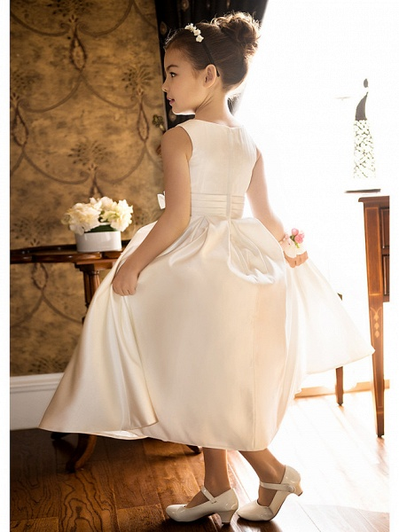 Princess / A-Line Tea Length Wedding / First Communion Flower Girl Dresses - Satin Sleeveless Jewel Neck With Bow(S) / Ruched_4