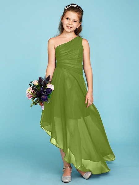 A-Line One Shoulder Asymmetrical Chiffon Junior Bridesmaid Dress With Side Draping / Wedding Party_41