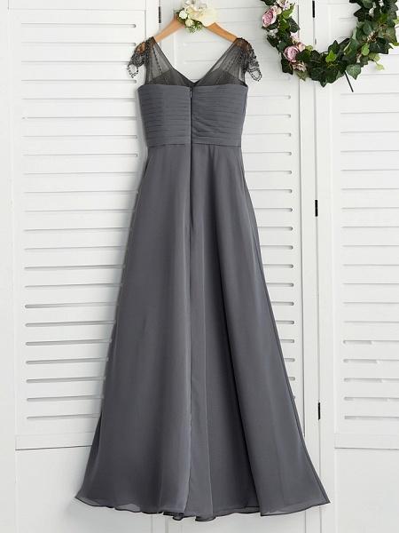 A-Line V Neck Maxi Chiffon Junior Bridesmaid Dress With Ruching_2