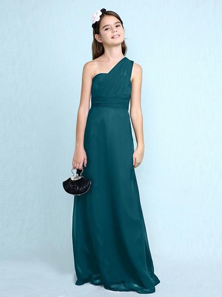 Sheath / Column One Shoulder Floor Length Chiffon Junior Bridesmaid Dress With Side Draping / Natural_38