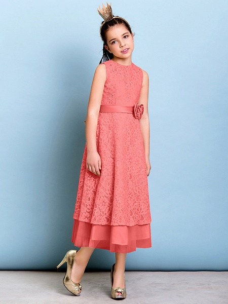 A-Line Jewel Neck Tea Length All Over Floral Lace Junior Bridesmaid Dress With Sash / Ribbon / Bow(S) / Flower / Natural_13