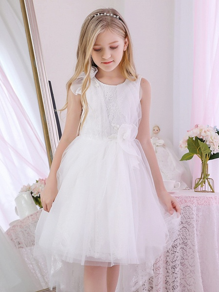 Princess / Ball Gown Sweep / Brush Train / Royal Length Train Wedding / Event / Party Flower Girl Dresses - Lace / Satin / Tulle Sleeveless Jewel Neck With Lace / Cascading Ruffles / Flower_2