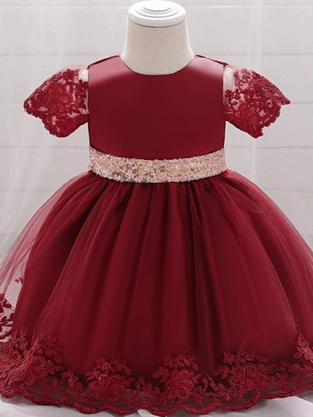 Ball Gown Floor Length Wedding / Party Christening Gowns - Lace / Satin / Tulle Sleeveless Jewel Neck With Bow(S) / Paillette_2