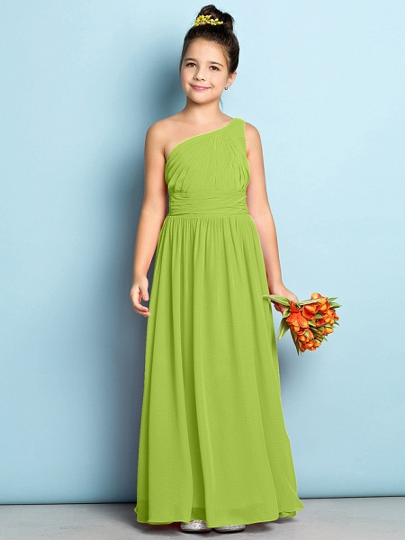 A-Line One Shoulder Ankle Length Chiffon Junior Bridesmaid Dress With Side Draping / Natural / Mini Me_27