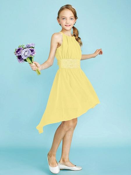 Sheath / Column Jewel Neck Asymmetrical Chiffon Junior Bridesmaid Dress With Sequin / Natural_41