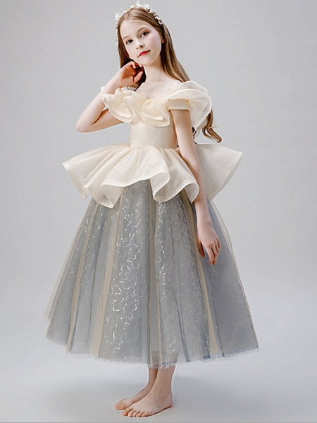 A-Line Floor Length Party / Birthday Flower Girl Dresses - Satin / Tulle Sleeveless Jewel Neck With Ruffles / Paillette_5
