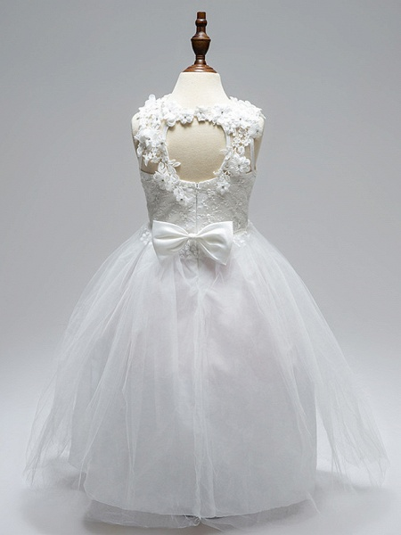 Ball Gown Floor Length Wedding / First Communion Flower Girl Dresses - Lace / Tulle Sleeveless Jewel Neck With Sash / Ribbon / Bow(S) / Appliques / Open Back_2