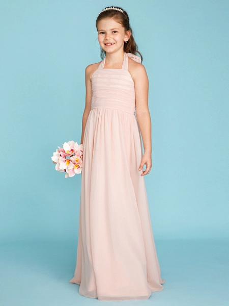 Princess / A-Line Halter Neck Floor Length Chiffon Junior Bridesmaid Dress With Pleats / Ruched_4