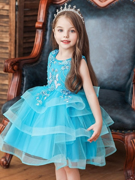 Princess / Ball Gown Knee Length Wedding / Party Flower Girl Dresses - Satin / Tulle Sleeveless Jewel Neck With Bow(S) / Beading / Tier_2