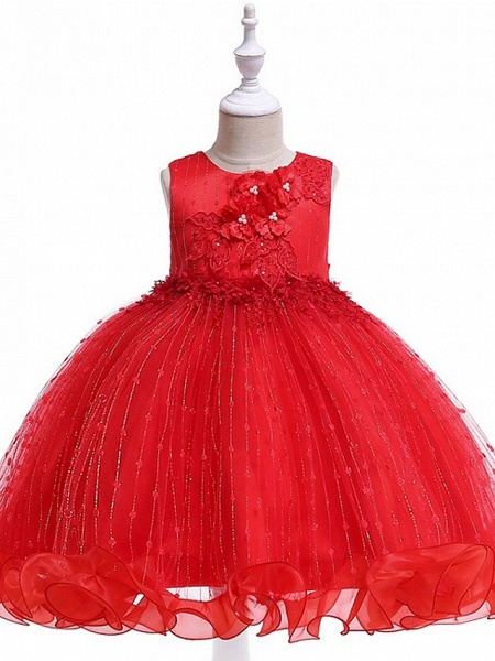 Princess / Ball Gown Knee Length Wedding / Party Flower Girl Dresses - Tulle Sleeveless Jewel Neck With Bow(S) / Beading / Appliques_11