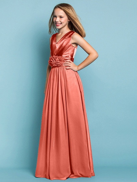 Sheath / Column V Neck Floor Length Chiffon Junior Bridesmaid Dress With Flower / Spring / Summer / Fall / Apple / Hourglass_25