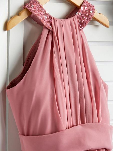 A-Line Halter Neck Maxi Chiffon Junior Bridesmaid Dress With Beading / Ruching_4