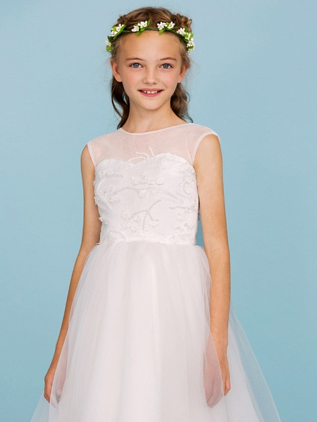 Ball Gown Crew Neck Asymmetrical Tulle Junior Bridesmaid Dress With Beading / Wedding Party / Open Back_6