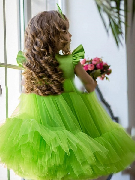 Princess / A-Line Floor Length Party / Birthday Flower Girl Dresses - Tulle Short Sleeve Jewel Neck With Cascading Ruffles / Splicing_2