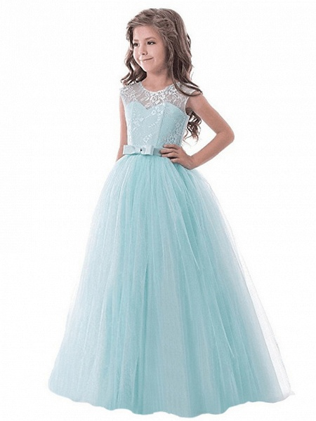 Princess Long Length Party / Birthday / Pageant Flower Girl Dresses - Lace / Tulle Sleeveless Jewel Neck With Lace / Bow(S)_4
