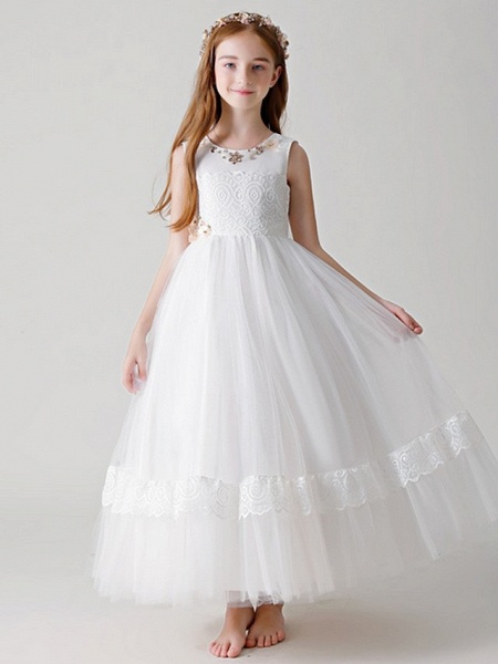 Ball Gown Round Floor Length Tulle Junior Bridesmaid Dress With Crystals / Appliques_1