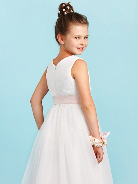 Princess / A-Line V Neck Sweep / Brush Train Satin / Tulle Junior Bridesmaid Dress With Sashes / Ribbons / Bow(S) / Wedding Party_7