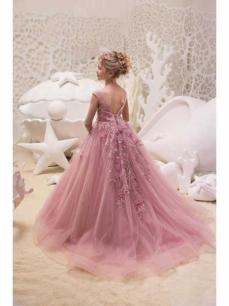 Princess / Ball Gown Sweep / Brush Train Wedding / Party Flower Girl Dresses - Tulle Cap Sleeve Jewel Neck With Appliques_2