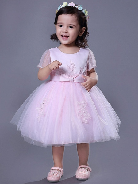 Ball Gown Royal Length Train / Medium Length Wedding / Party Flower Girl Dresses - Satin / Tulle Short Sleeve Jewel Neck With Beading / Appliques / Butterfly_4