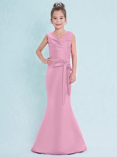 Mermaid / Trumpet V Neck Floor Length Satin Junior Bridesmaid Dress With Criss Cross / Natural_12