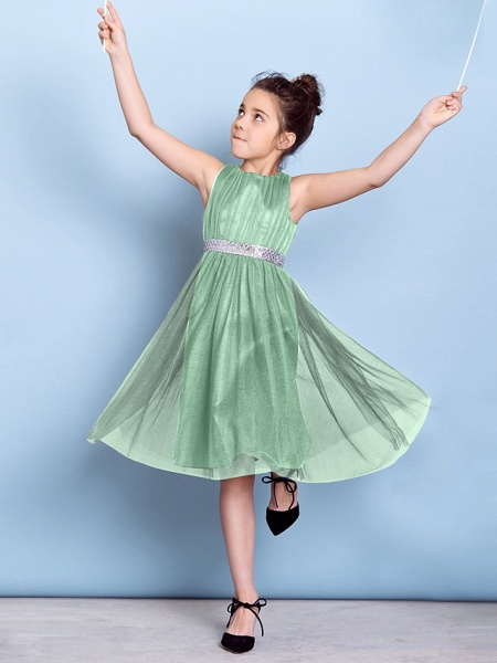 A-Line Jewel Neck Knee Length Tulle Junior Bridesmaid Dress With Sash / Ribbon / Sequin / Draping / Natural_40