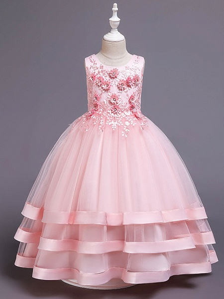Princess Medium Length Wedding / Party / Pageant Flower Girl Dresses - Satin / Tulle / Cotton Sleeveless Jewel Neck With Belt / Embroidery / Appliques_3