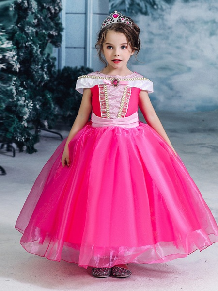 Ball Gown Floor Length Wedding / Party Flower Girl Dresses - Tulle Sleeveless Jewel Neck With Solid_6