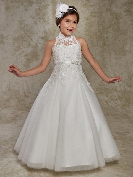 Princess / Ball Gown Floor Length Wedding / Party Flower Girl Dresses - Lace Sleeveless High Neck With Beading / Appliques_1