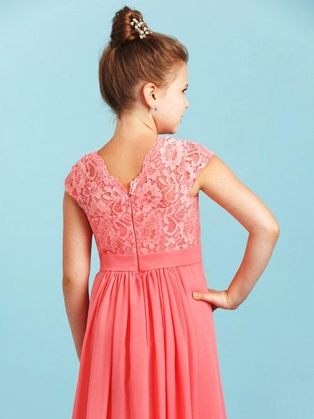 Princess / A-Line V Neck Floor Length Chiffon / Lace Junior Bridesmaid Dress With Sash / Ribbon / Pleats / Wedding Party_5