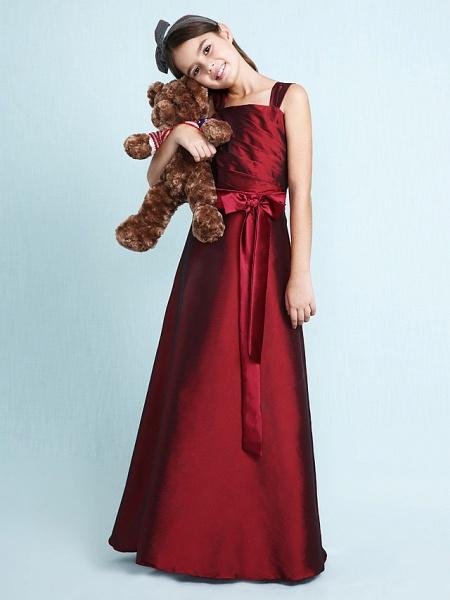 Princess / A-Line Straps Floor Length Taffeta Junior Bridesmaid Dress With Sash / Ribbon / Bow(S) / Ruched / Spring / Fall / Winter / Wedding Party / Natural_3