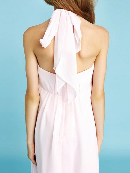Sheath / Column Halter Neck Asymmetrical Chiffon Junior Bridesmaid Dress With Bow(S) / Beading / Natural_10