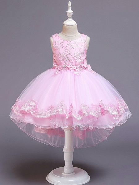 Princess / Ball Gown Knee Length Wedding / Party Flower Girl Dresses - Tulle Sleeveless Jewel Neck With Bow(S) / Appliques_1