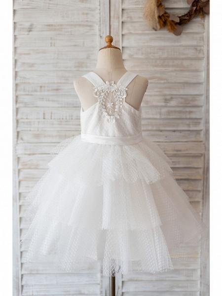 Ball Gown Knee Length Wedding / Birthday Flower Girl Dresses - Tulle Sleeveless Jewel Neck With Belt / Appliques_2