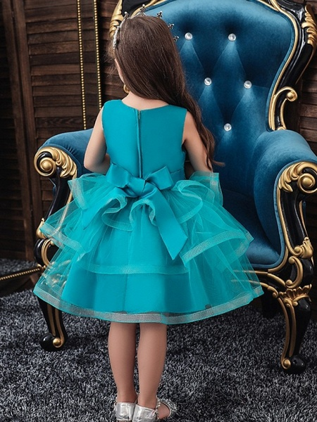 Princess / Ball Gown Knee Length Wedding / Party Flower Girl Dresses - Tulle Sleeveless Jewel Neck With Bow(S) / Appliques / Cascading Ruffles_2