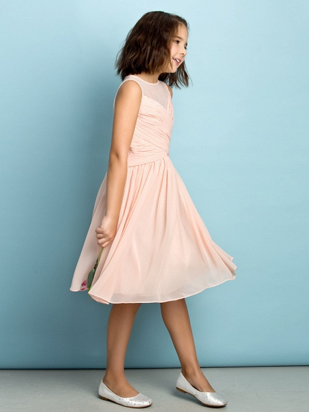 A-Line Jewel Neck Knee Length Chiffon Junior Bridesmaid Dress With Criss Cross / Natural / Mini Me_5