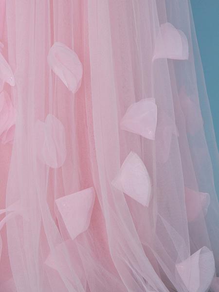 Princess / A-Line One Shoulder Floor Length Tulle Junior Bridesmaid Dress With Pleats / Appliques / Flower_7