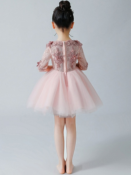 A-Line Ankle Length Christmas / Birthday Flower Girl Dresses - Tulle Half Sleeve Jewel Neck With Appliques_5