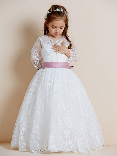 Ball Gown Floor Length Wedding / First Communion Flower Girl Dresses - Lace / Tulle Long Sleeve V Neck With Lace / Sash / Ribbon / Bow(S)_5