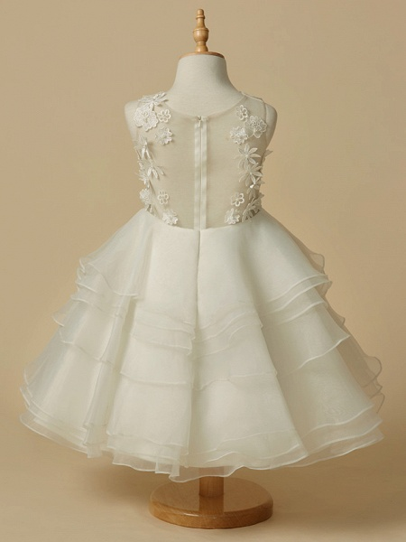 A-Line Knee Length Wedding / First Communion Flower Girl Dresses - Lace / Organza Sleeveless Scoop Neck With Lace_2