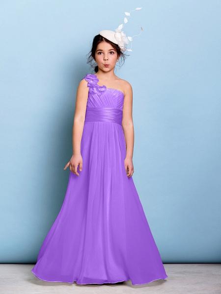A-Line One Shoulder Floor Length Chiffon Junior Bridesmaid Dress With Sash / Ribbon / Criss Cross / Ruched / Natural_29