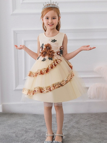 Ball Gown Knee Length Party / Pageant Flower Girl Dresses - Lace / Tulle Sleeveless Jewel Neck With Tier / Paillette_1