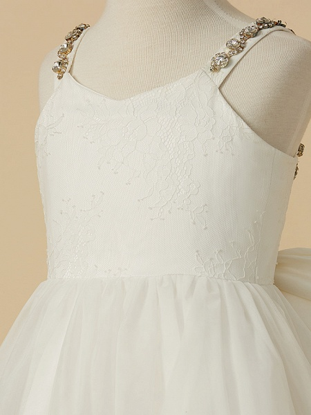 A-Line Ankle Length Wedding / First Communion Flower Girl Dresses - Lace / Tulle Sleeveless Straps With Bow(S) / Beading_5