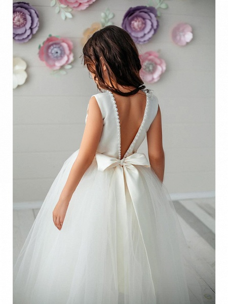 Princess / Ball Gown Floor Length Wedding / Party Flower Girl Dresses - Tulle Sleeveless Jewel Neck With Pleats / Solid_4