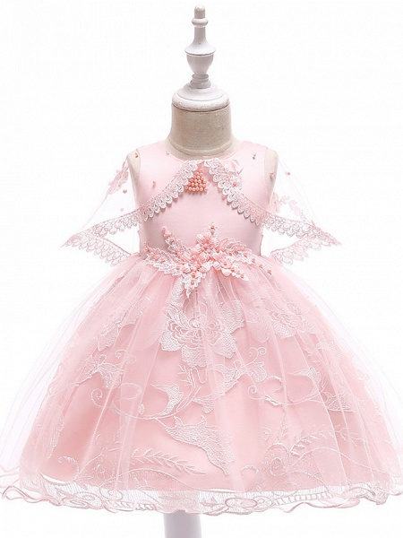 Princess Medium Length Wedding / First Communion Flower Girl Dresses - Lace / Tulle / Mikado Sleeveless Jewel Neck With Pearls / Appliques / Bandage_3
